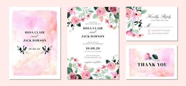 Suite de convite de casamento com fundo aquarela floral e abstrato Vetor Premium