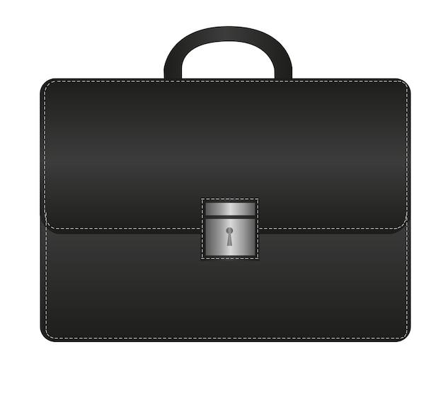 Suitecase preto isolado sobre o vetor de fundo branco Vetor Premium