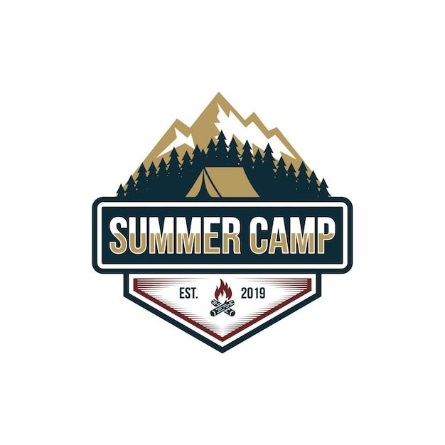 Summer camp vintage imagens de stock Vetor Premium
