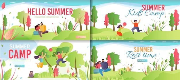 Summer rest e kids camp cartoon. Vetor Premium