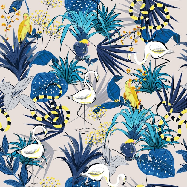 Summer tropical flowers seamless pattern de floresta de vetor Vetor Premium