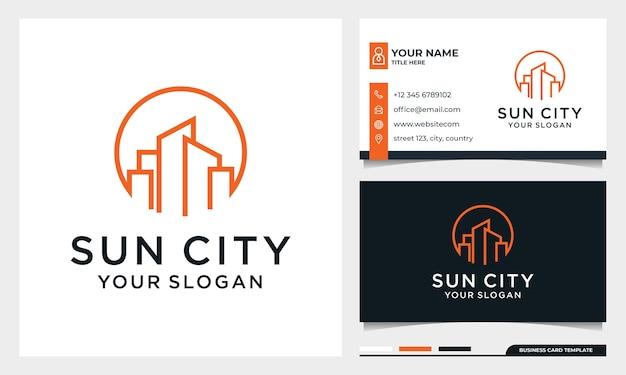 Sun com arte de linha construindo logo design, moon city, imobiliário, arquitetura com modelo de cartão de visita Vetor Premium