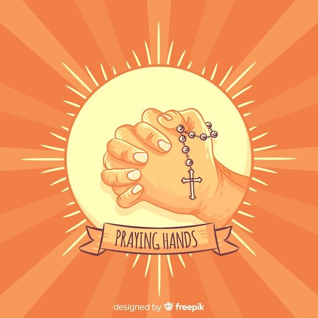 Sunburst orando mãos fundo Vetor Premium