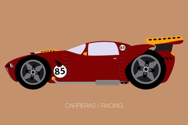 Super carro de corrida, vista lateral, estilo de design plano Vetor Premium
