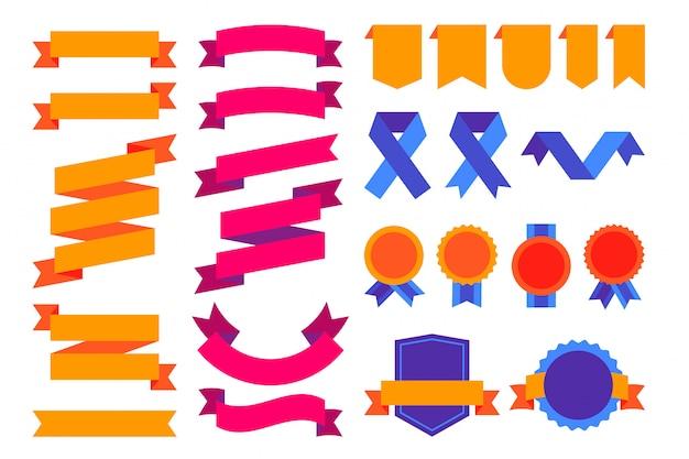 Super colorido conjunto de fitas, emblemas e distintivos Vetor grátis