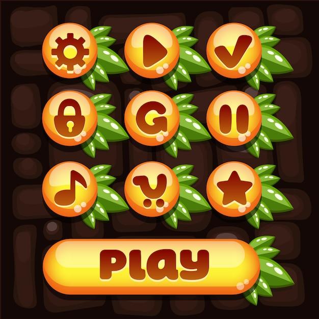 Super conjunto de elementos do vetor para jogos móveis com elementos amarelos e composição das suculentas folhas verdes Vetor Premium
