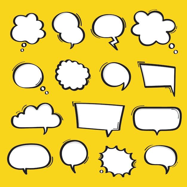 Super conjunto mão desenhada discurso bolhas isoladas em fundo amarelo. Vetor Premium