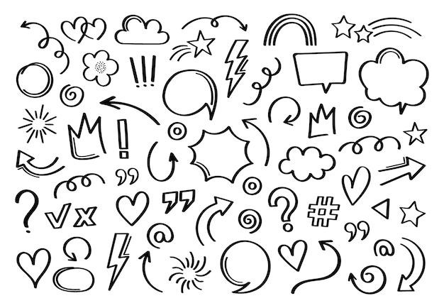 Super definir elemento desenhado à mão diferente. coleção de setas, coroas, círculos, rabiscos em fundo branco. gráfico. Vetor Premium
