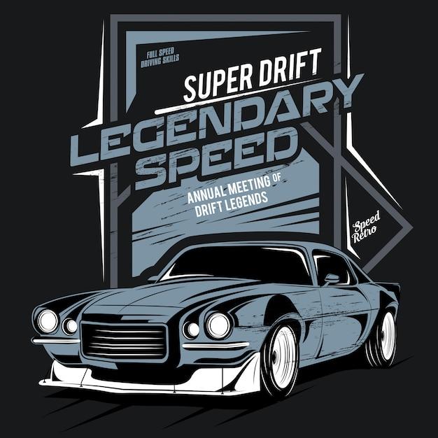 Super drift, velocidade lendária, ilustração de um carro rápido clássico Vetor Premium
