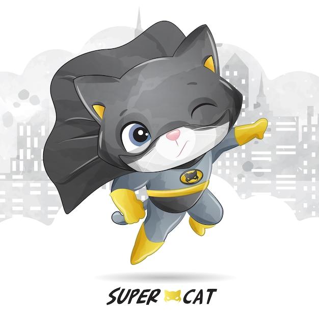 Super gata fofa com ilustração em aquarela Vetor Premium