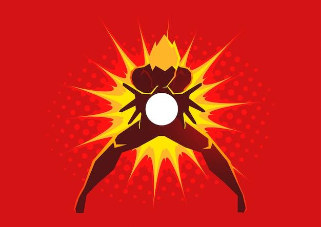 Super-herói criando uma explosão de energia através de suas mãos Vetor Premium