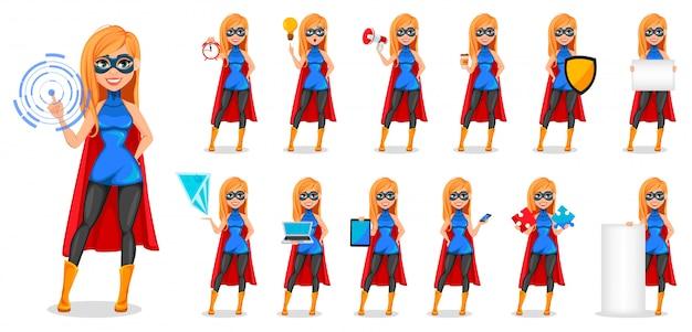 Super-herói de mulher de negócios, treze poses Vetor Premium