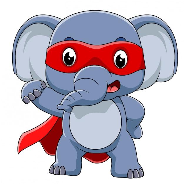 Super herói elefante dos desenhos animados de ilustração Vetor Premium