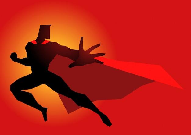 Super-herói em ação pose Vetor Premium