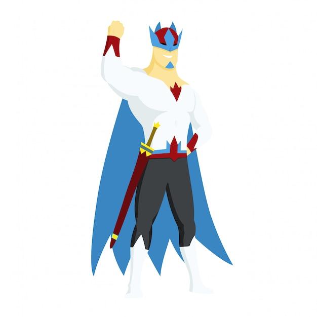 Super herói rei ícone de ações Vetor Premium