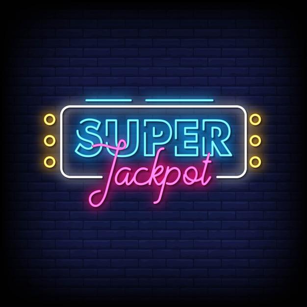 Super jackpot sinais néon estilo texto vector Vetor Premium