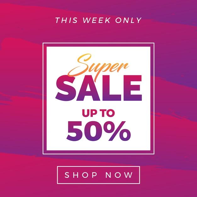 Super venda banner 50% de desconto Vetor Premium