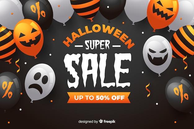 Super venda de halloween com balões assustadores Vetor grátis