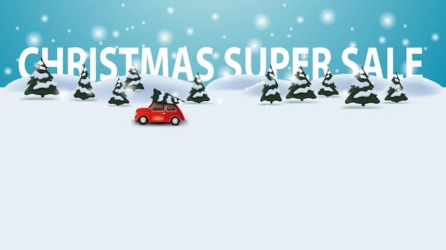 Super venda de natal, modelo de desconto com paisagem de inverno dos desenhos animados com carro antigo vermelho carregando a árvore de natal, fundo copyspace Vetor Premium