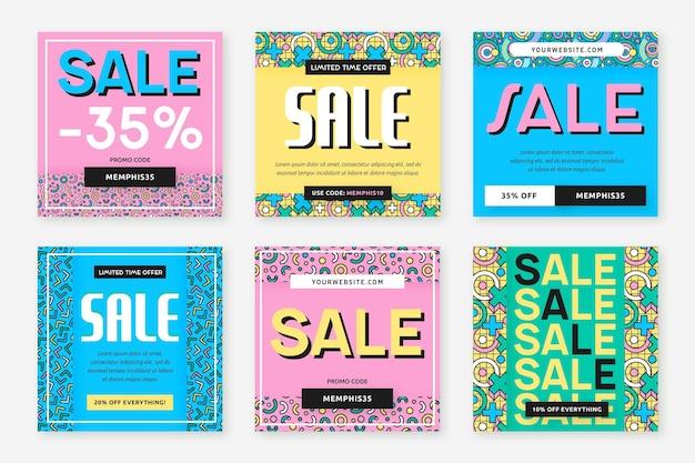 Super venda em várias cores de fundo post no instagram Vetor Premium