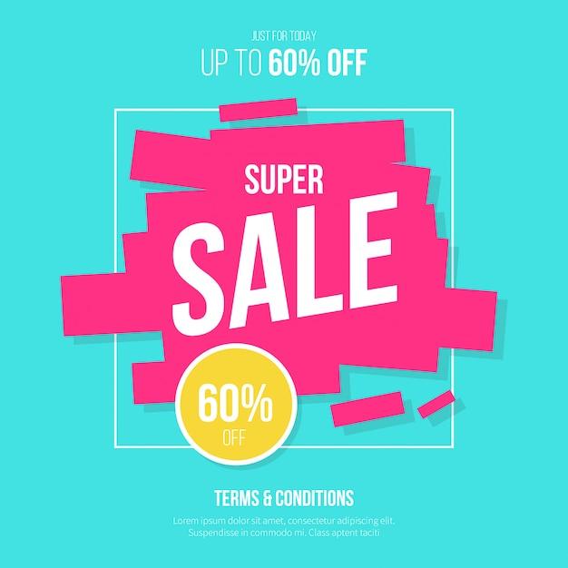 Super venda fundo com cores modernas Vetor grátis