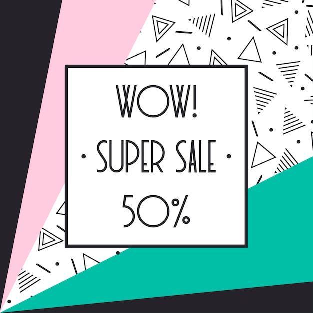 Super venda memphis banner. desconto de até 50%. compre agora. metade do preço de desconto. Vetor Premium