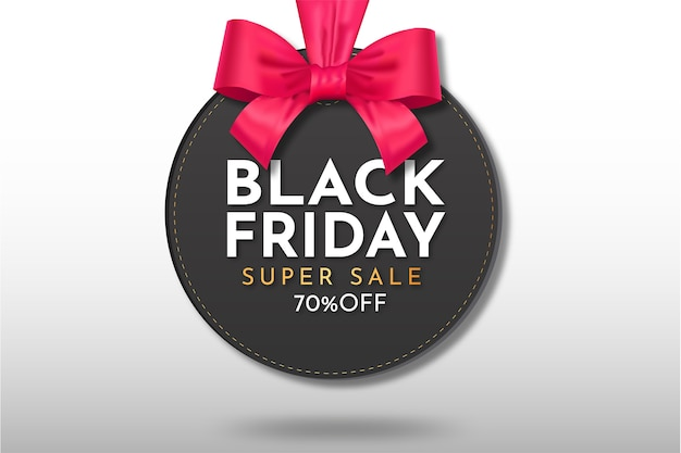 Super venda preta moderna pendurada com modelo de fita realista Vetor grátis