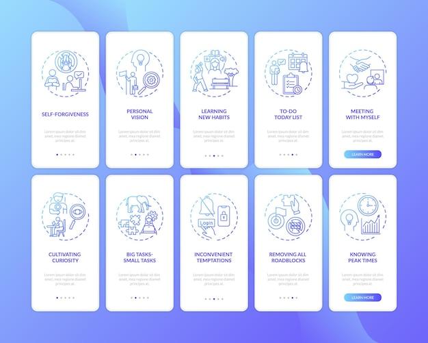 Superando a procrastinação na tela da página do aplicativo móvel com conceitos definidos Vetor Premium