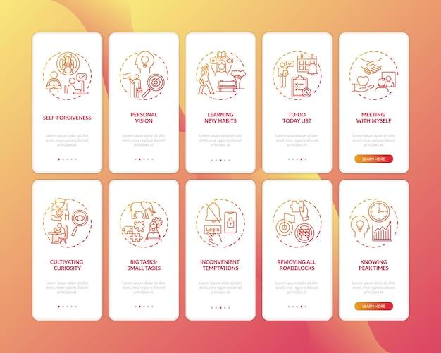 Superando tarefas atrasantes hábito de integração da tela da página do aplicativo móvel com conceitos definidos Vetor Premium