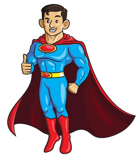 Superdad cartoon Vetor Premium
