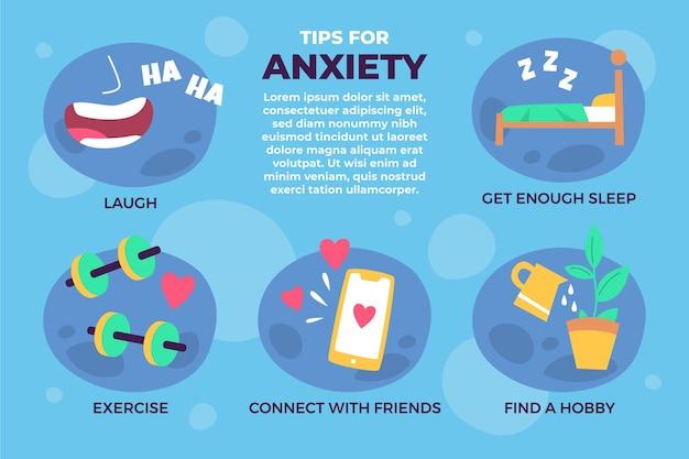 Supere o infográfico de dicas de ansiedade Vetor grátis