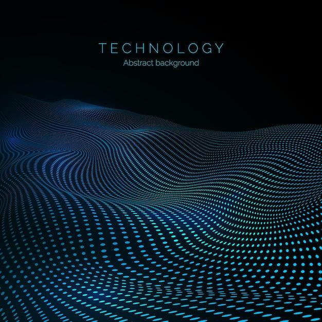 Superfície da onda digital. fluxo de dados. onda digital abstrata de partículas Vetor Premium