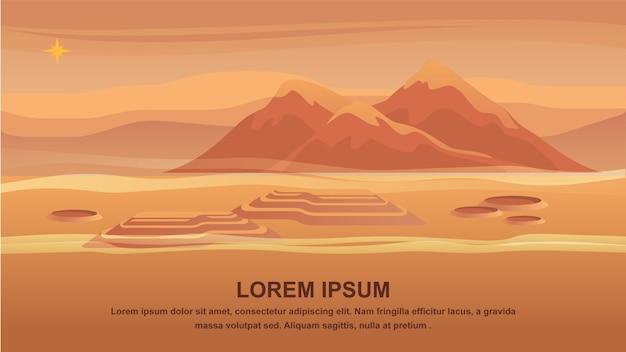 Superfície vermelha do planeta da paisagem da montanha do panorama. Vetor Premium