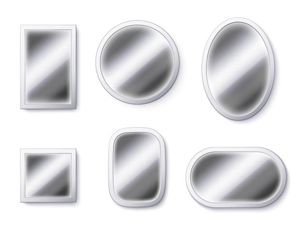 Superfícies de espelhos realistas. moldura de espelho, superfície reflexiva e espelho de vidro Vetor Premium