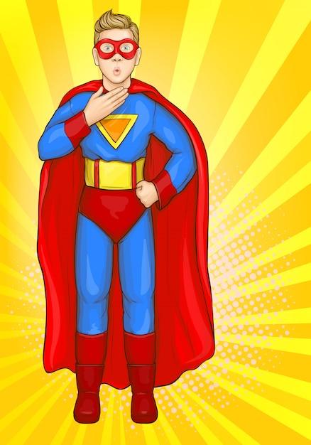 Superman menino em traje de super herói, garoto de poder Vetor grátis