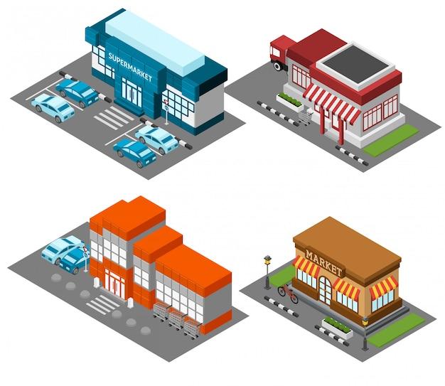 Supermercado armazena o conjunto de ícones isométrica de edifícios Vetor grátis