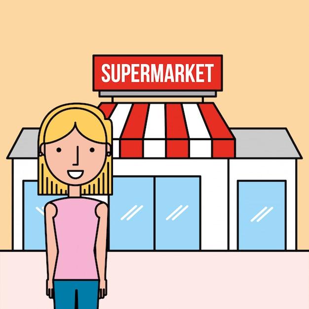 Supermercado de frente de pé de mulher dos desenhos animados Vetor Premium