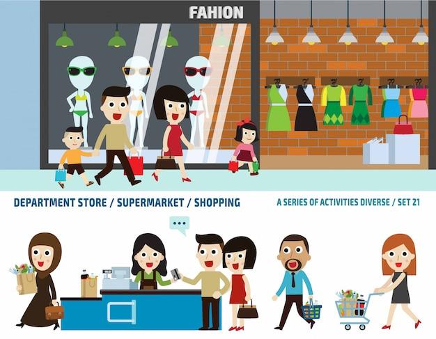 Supermercado e loja de departamentos. conceito de cabeçalho de bandeira de negócios. elementos infográfico. Vetor Premium