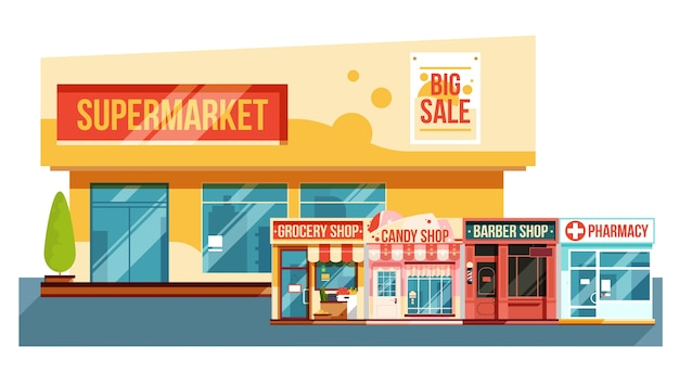 Supermercado e pequenas revistas da cidade da cidade ilustração da vista moderna Vetor Premium