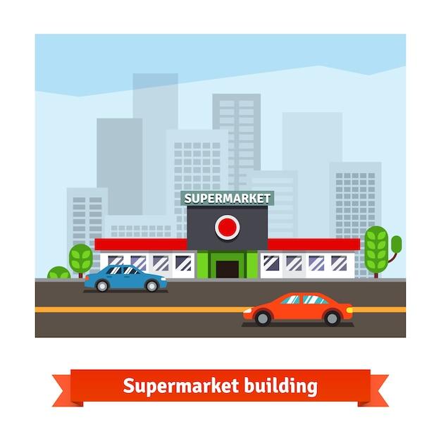 Supermercado rodoviário e fundo da cidade Vetor grátis