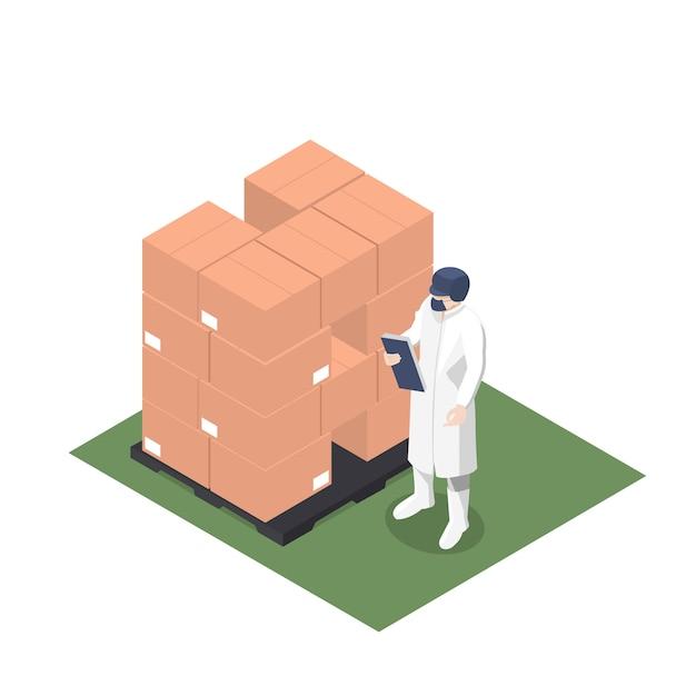 Supervisor de produção revendo palete com caixas paletizadas Vetor Premium