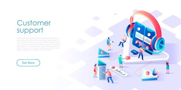 Suporte ao cliente da página de destino isométrica ou conceito de plano de serviço Vetor Premium