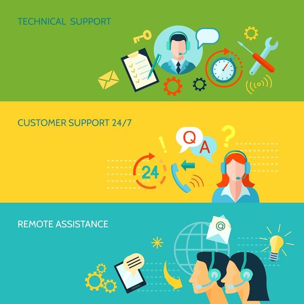 Suporte ao cliente e assistência técnica horizontal banners Vetor grátis
