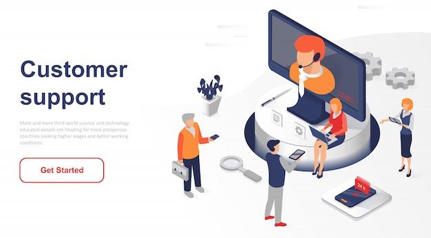 Suporte ao cliente ou serviço isométrico da página de destino Vetor Premium
