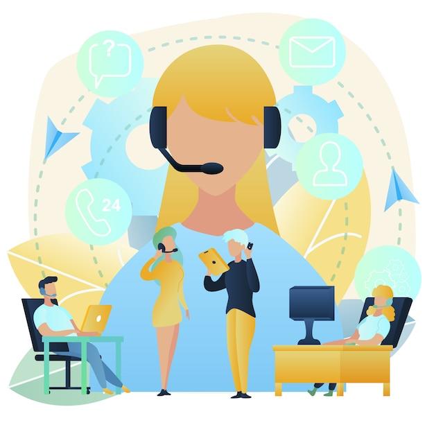 Suporte de clientes com conceito de vetor de call center Vetor Premium