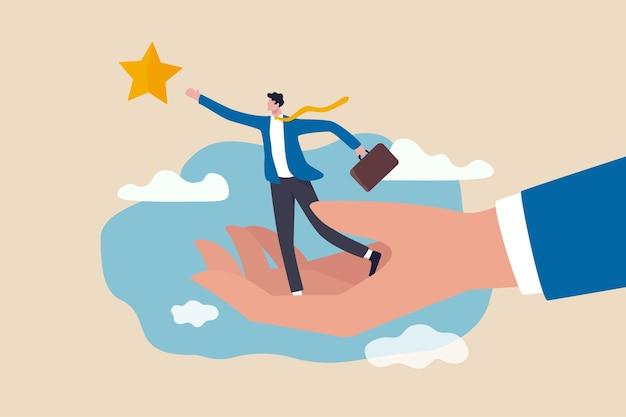 Suporte de desenvolvimento de carreira, assistente ou mentor para ajudar a alcançar a meta de negócios para atingir o conceito alvo Vetor Premium