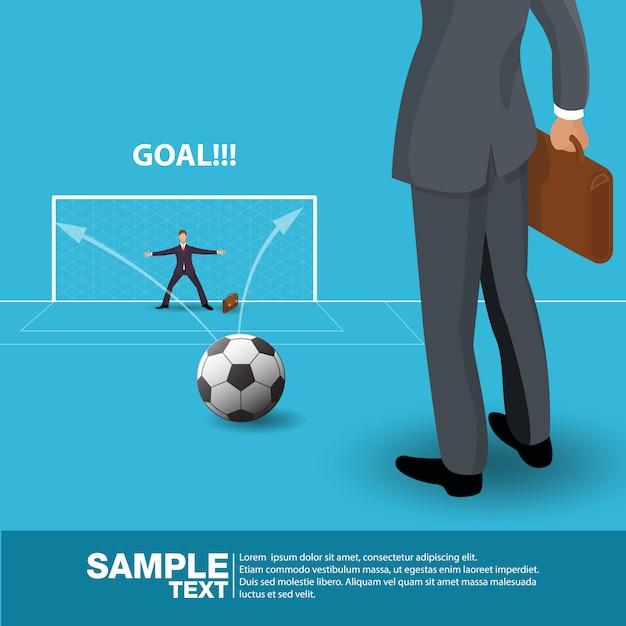 Suporte futuro isométrico de man concept do líder de negócio no campo de futebol ilustração do vetor. Vetor Premium