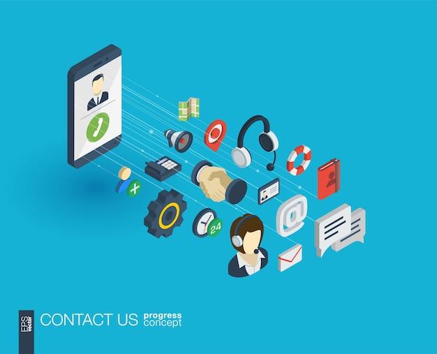 Suporte ícones da web integrados. conceito de progresso isométrico de rede digital. sistema de crescimento de linha gráfica conectada. fundo para call center, serviço de ajuda, entre em contato conosco. infograph Vetor Premium