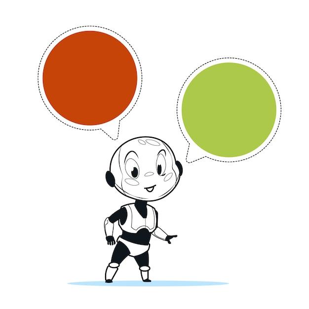Suporte para robot chat bot Vetor Premium