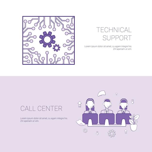 Suporte técnico e conceito de serviço de centro de chamada web banner com espaço de cópia Vetor Premium